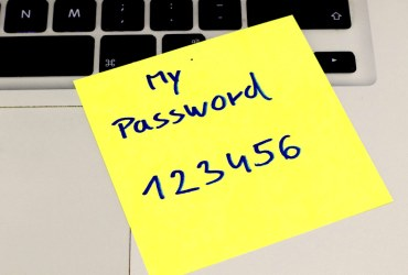 Password 123456 written on a paper